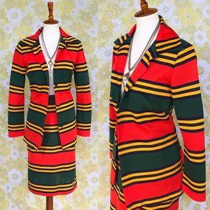 True Vintage🔥60's Two Piece Striped Skirt Suit!